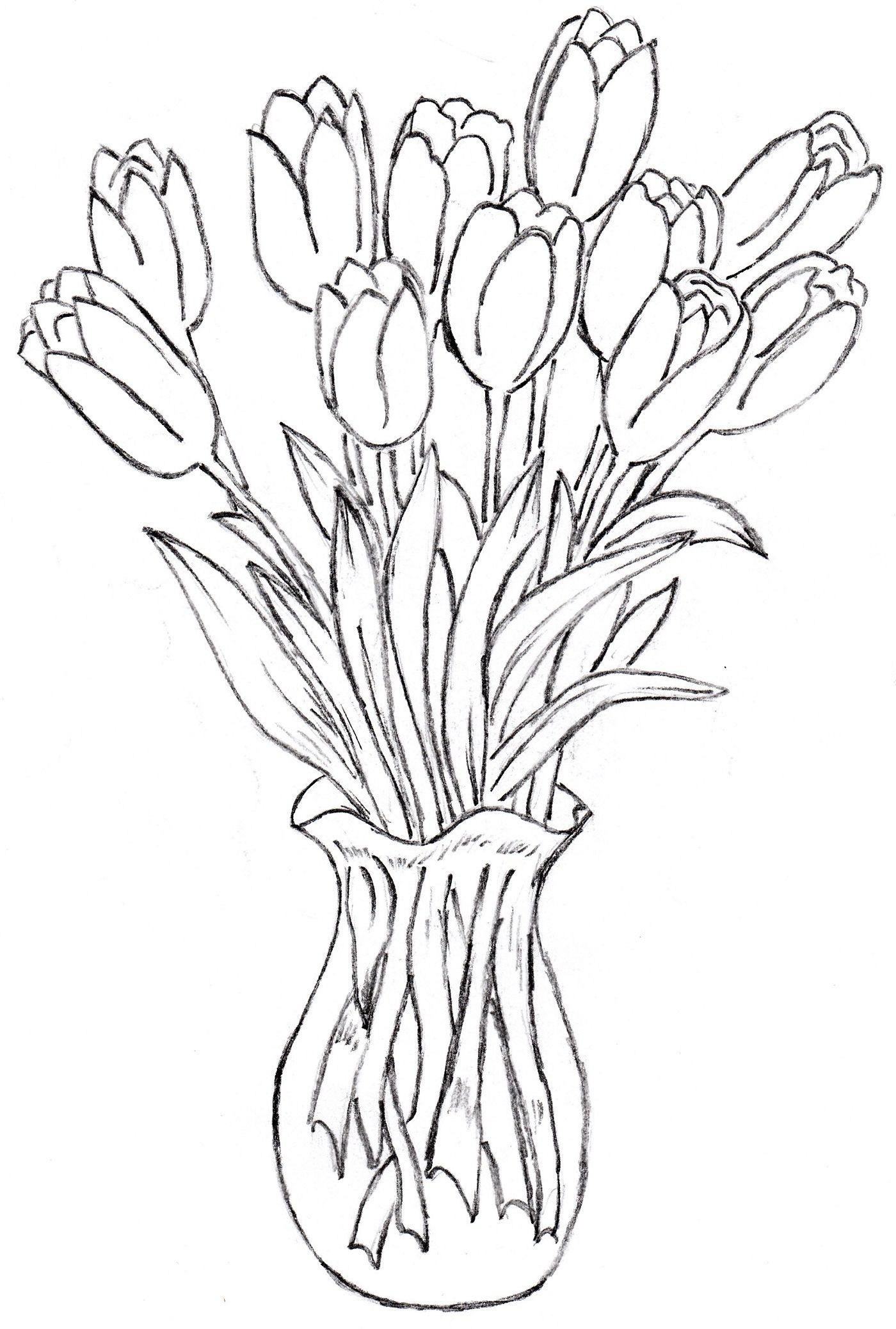 Flower Vase Drawing Photos In A Vase Drawing Drawings Gallery Drawings Flower Vase Drawing Flower Vases Large Ceramic Vase