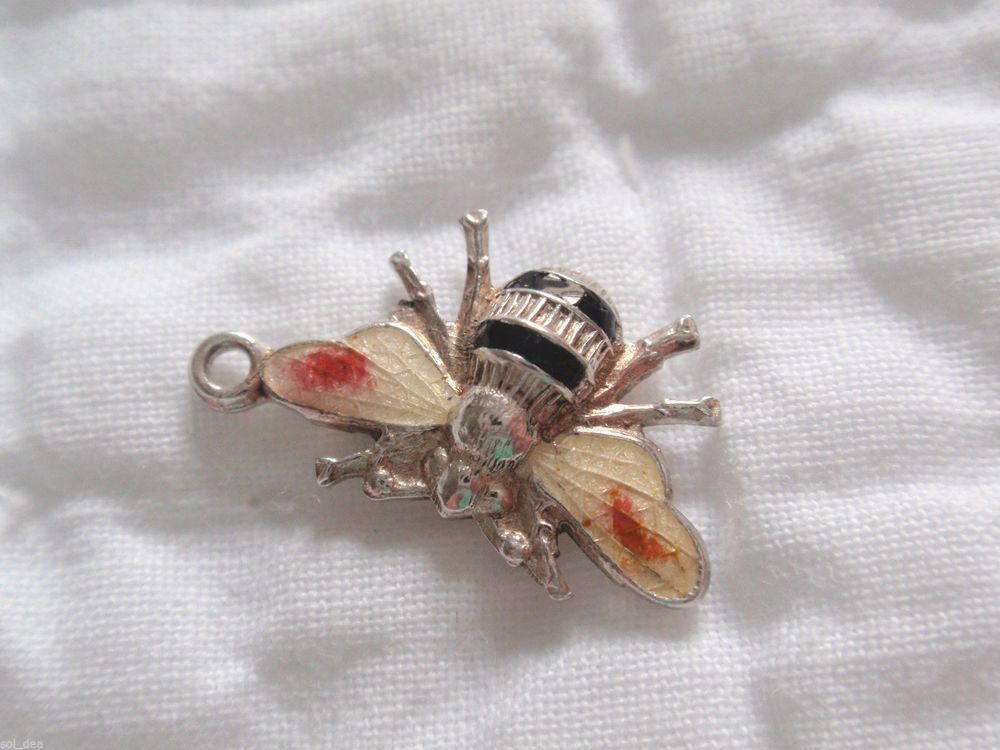 Vintage Antique English Sterling Silver BEE Guilloche Enamel Charm Insect Bug in Jewelry & Watches, Vintage & Antique Jewelry, Fine | eBay