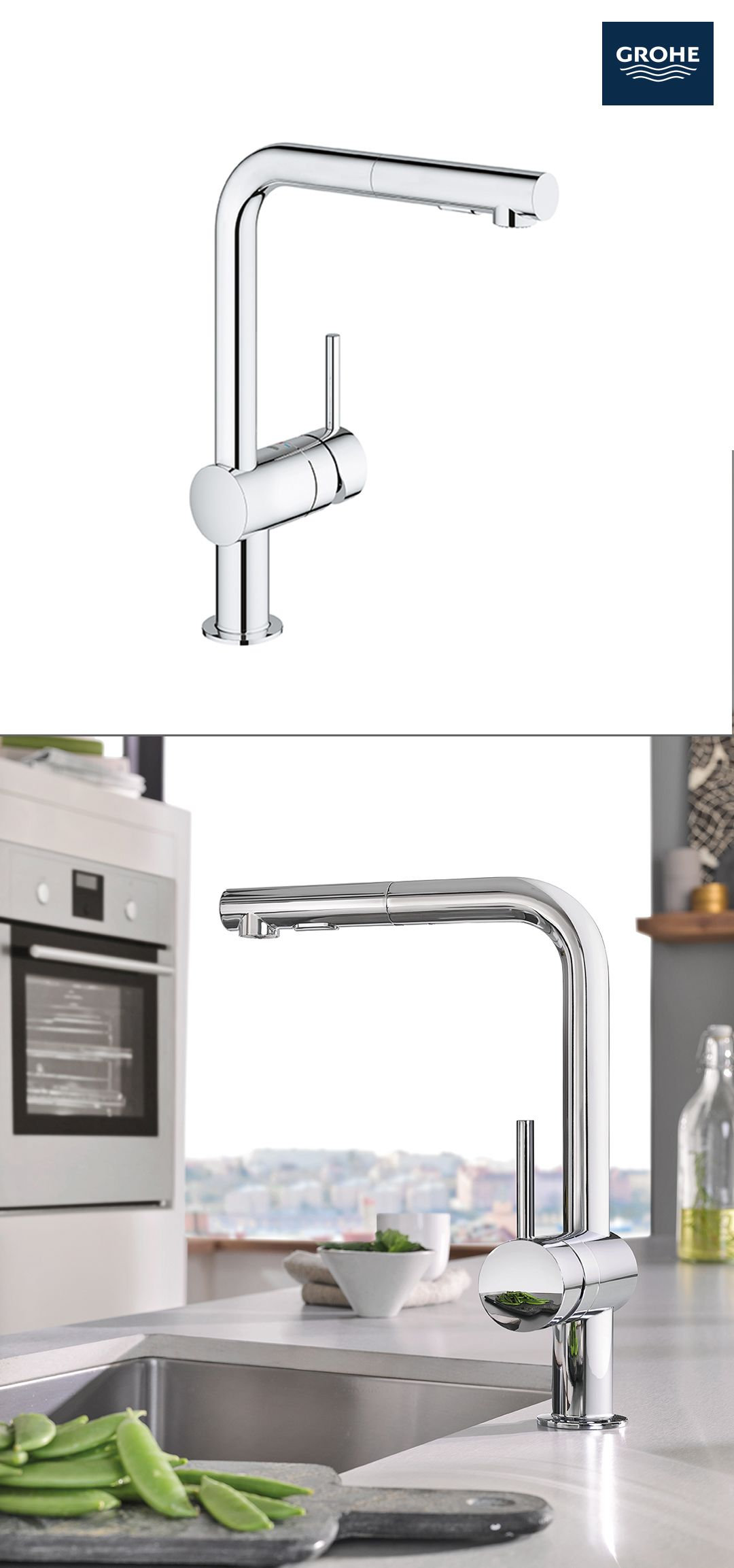 The GROHE Minta Pull-Out Kitchen Faucet combines form and ...