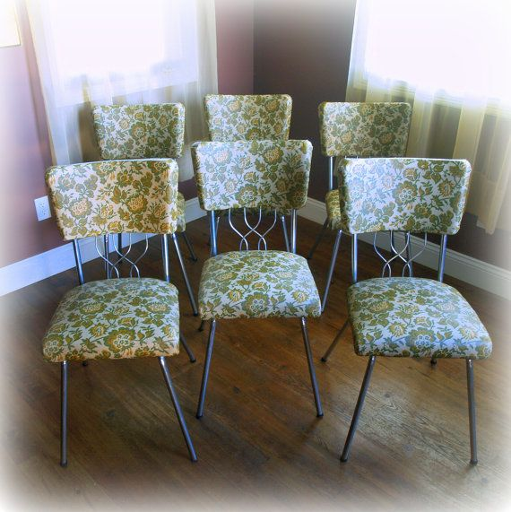 Great 6 RETRO DINING CHAIRS / Super Cool Mid Century Kitchen Chair Set / Floral  Pattern /