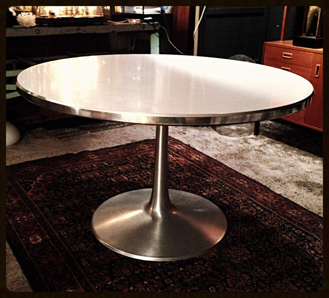 table ronde designer poul cadovius made in danemark anne 1960 plateau - Table Ronde Pied Tulipe