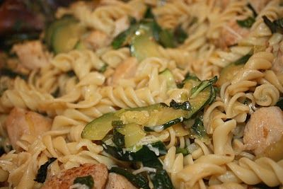 Lemony Fusilli with Chicken, Zucchini and Pine Nuts