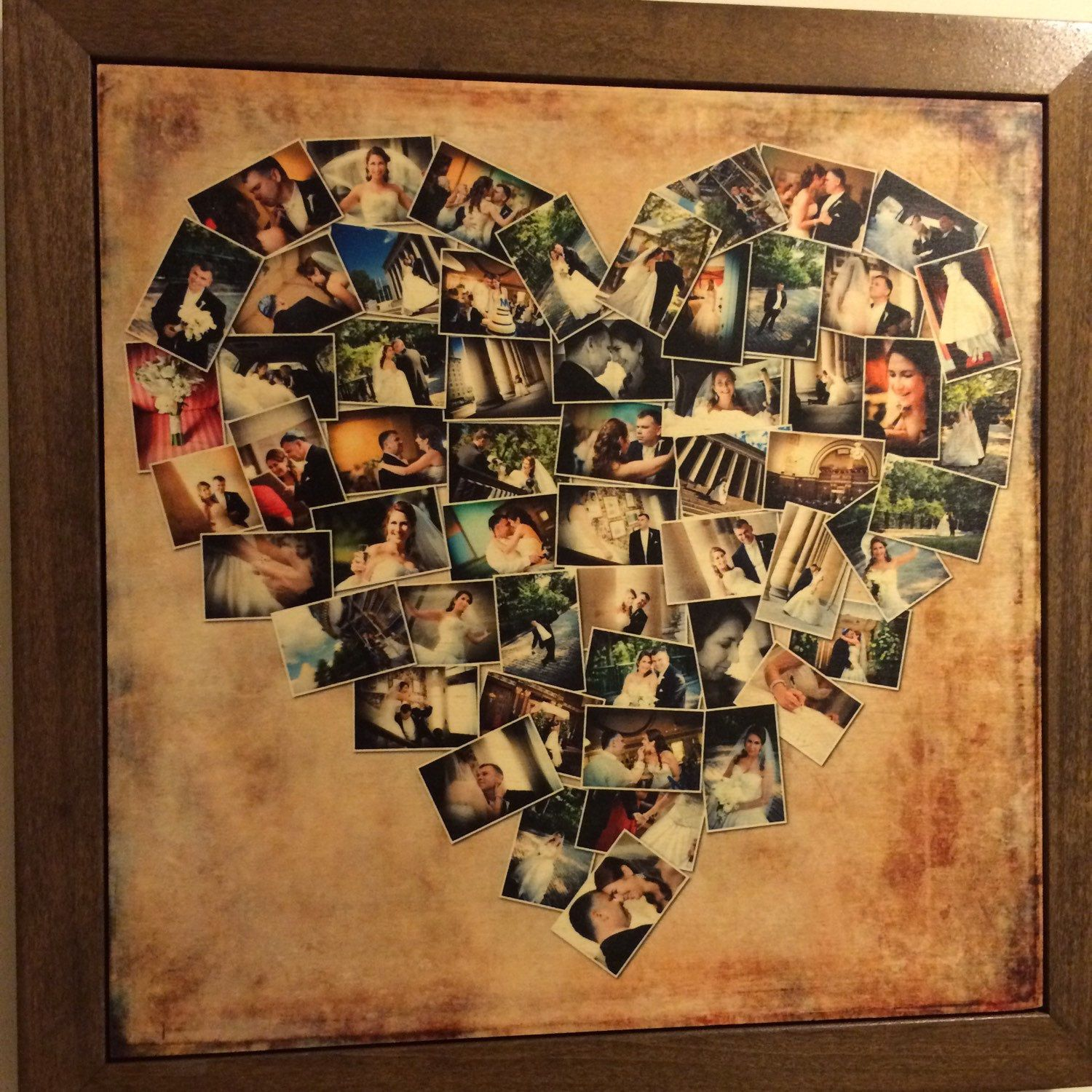 WOOD PRINT Heart Collage, Five Year Anniversary Gift ...