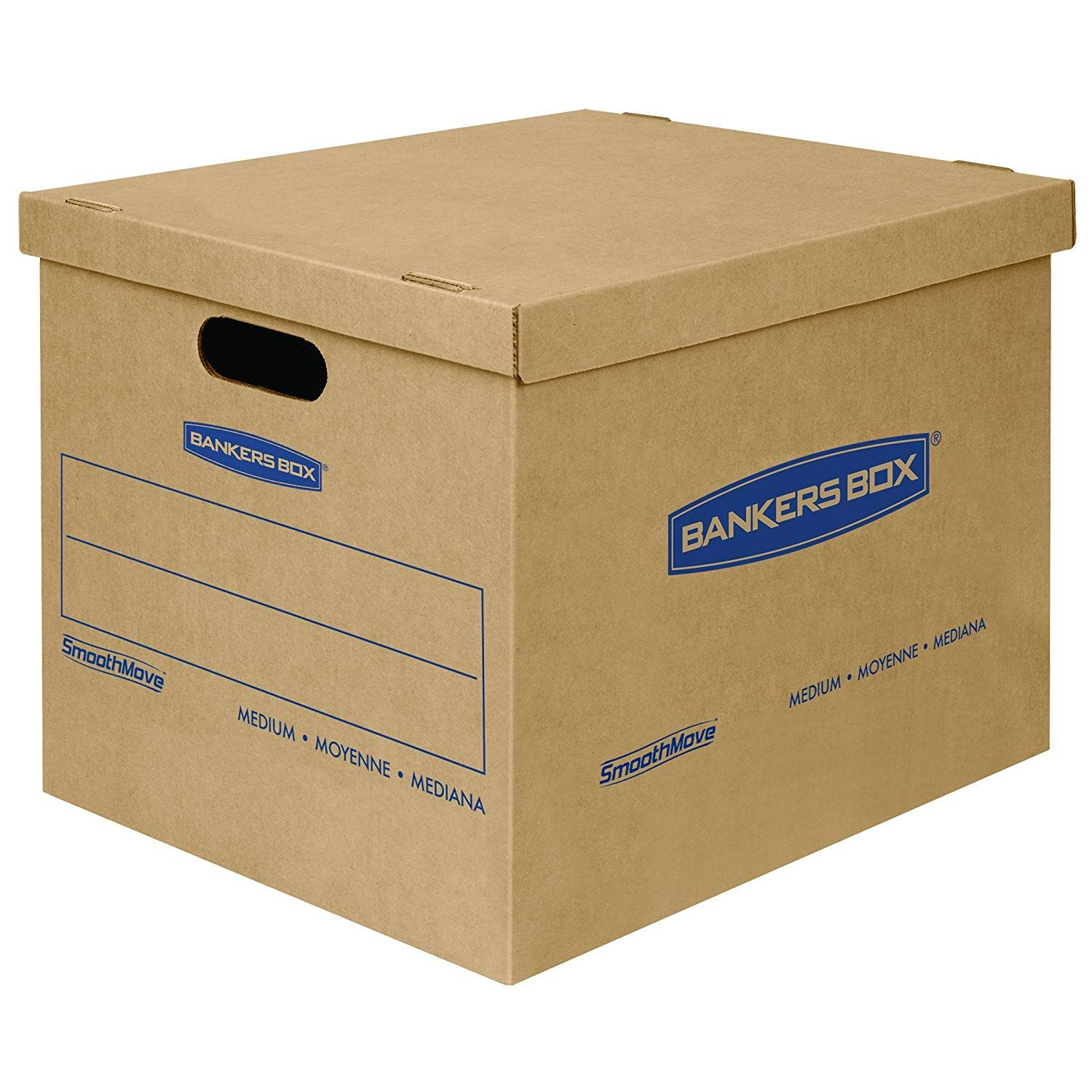 Mediumsize moving boxes with lids make it easy to pack