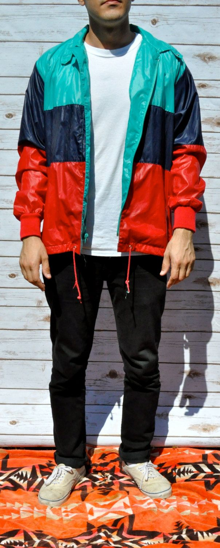 Vintage color block windbreaker jacket/mens/womens/ retro slim fit ...