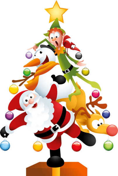 COMICAL SANTA, SNOWMAN, REINDEER AND ELF CHRISTMAS TREE CLIP ART ...