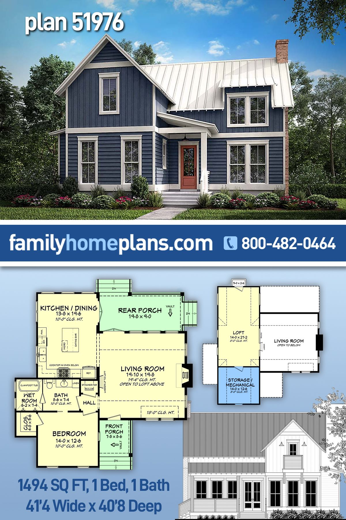Southern Style House Plan 51976 With 1 Bed 1 Bath In 2021 Diy House Plans Country House Plans Cottage House Designs