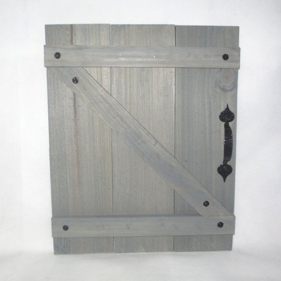 Handcrafted Wood Mini Barn Doors Shutters Wall Decor With Black