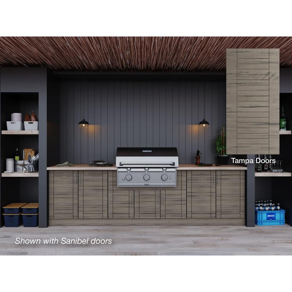 Weatherstrong Tampa Weatherwood 17 Piece 121 25 In X 34 5 In X 28 In Outdoor Kitchen Cabinet Set Wse120wm Twd The Home Depot Outdoor Kitchen Cabinets Modular Outdoor Kitchens Semi Custom Cabinets