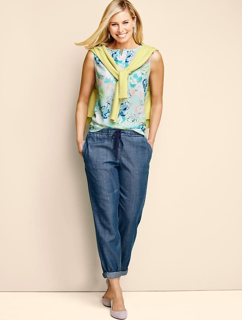 The Easy Drawstring Slim Leg Pant-Superior Wash - Talbots