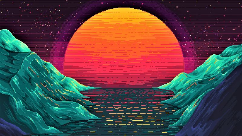 Retrowave Sunset Orange 4k Horizontal Desktop Wallpaper Art Pop Art Wallpaper Pixel Art