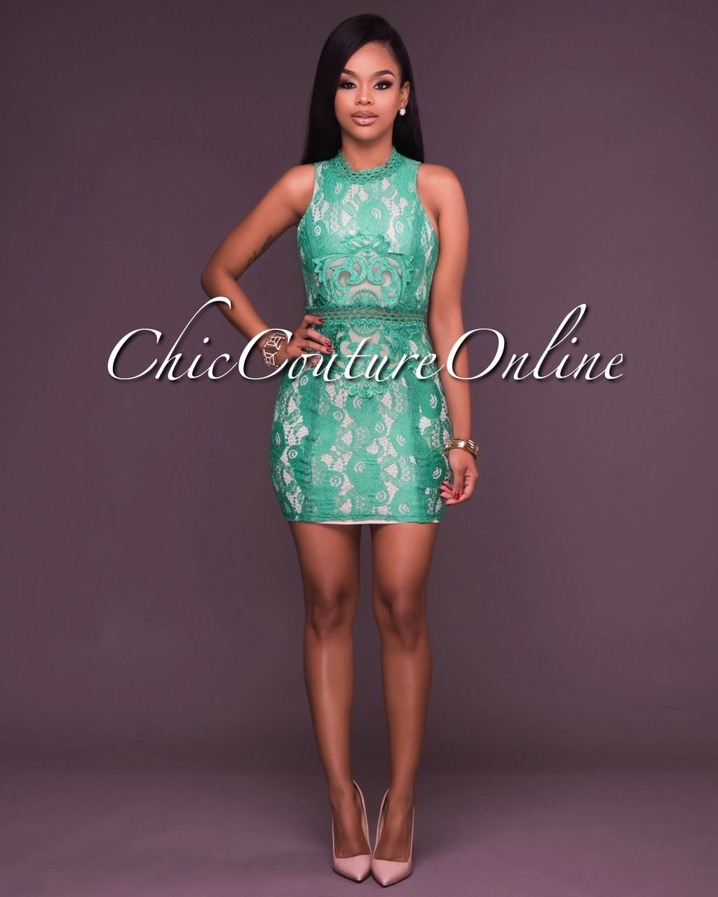 Green dress with lace overlay  Chic Couture Online  Maeva Lace Overlay Kelly Green Mock Neck Mini