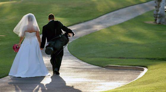 Palm Springs Weddings. Indian Wells Country Club. www.indianwellsclub.com.  Fuchsia Centerpieces, Desert Weddings, Black White and Fuchsia Wedding, Bride & Groom Golf, Golf Course Wedding