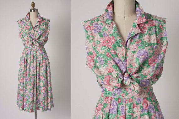 Vintage Floral Dress // 2 piece Floral Set // by vintagesalvation, $40.00