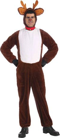 Adult Costumes - This funny Plush Adult Reindeer Costume for either a man or lady includes hood with attached antlers and collar and the jumpsuit.  sc 1 st  Pinterest & Adult Reindeer Costume - Christmas Costumes http://christmascosplay ...