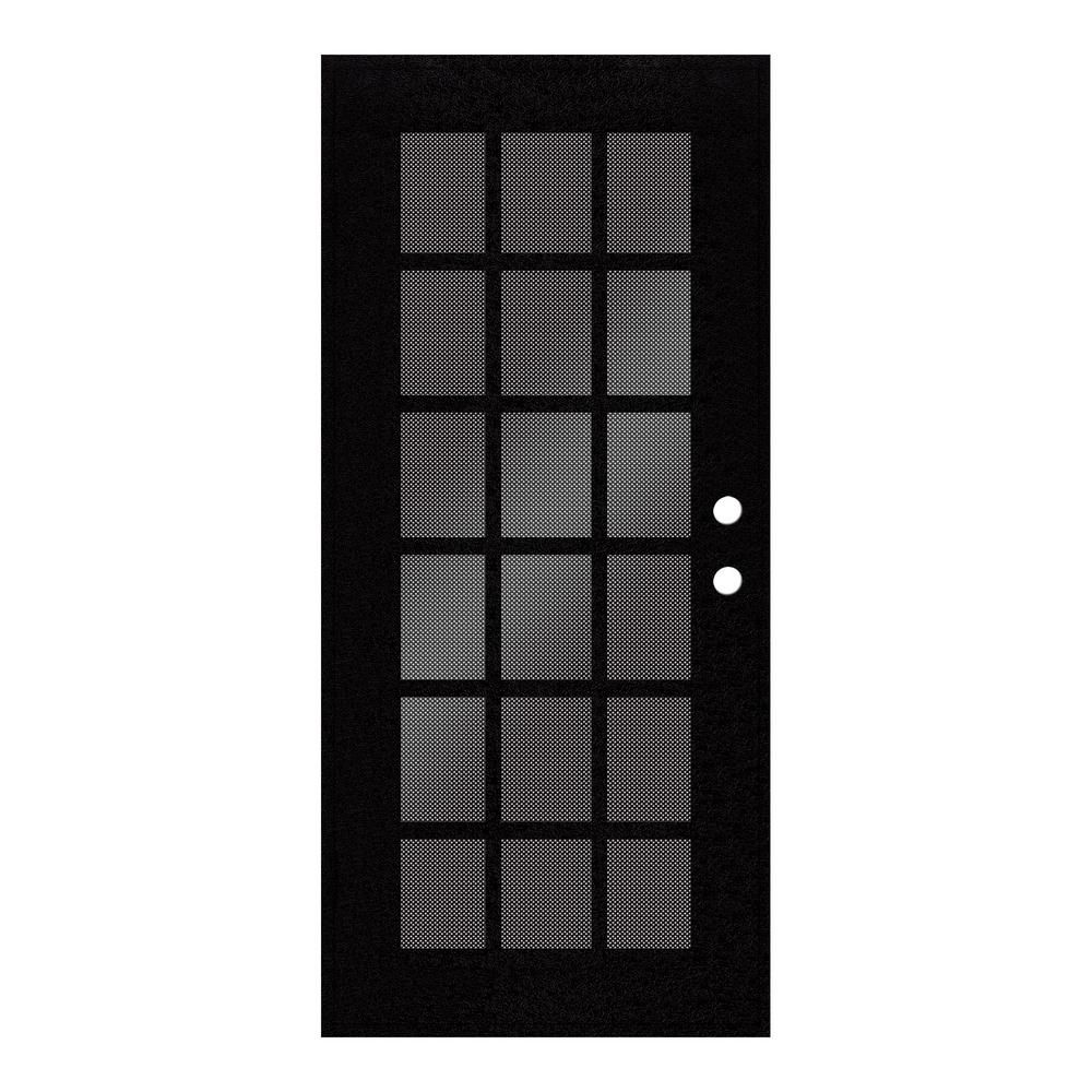 Unique Home Designs 30 In X 80 In Classic French White Left Hand Surface Mount Aluminum Security Door With Black Perforated Screen 1s2026cl1whp5a The Home D Security Door Unique House Design Metal Screen