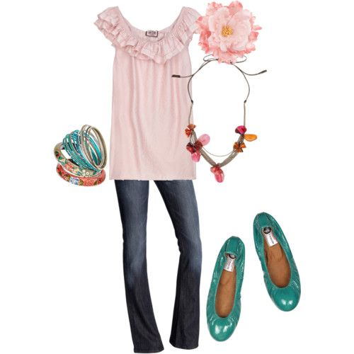 I want Turq. flats and a soft pink feminine top with great accessories! Just sayin'