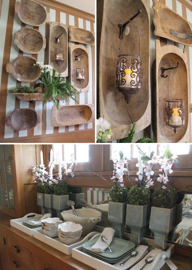 Usando las bateas de madera Linda idea para usarla como decoracion