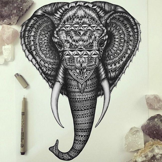 Ello Be Inspired Animal Doodles Henna Hand Tattoo Elephant Tattoos