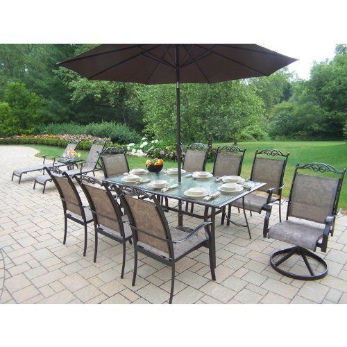 Oakland Living Cascade Patio Dining Set With Umbrella And Stand