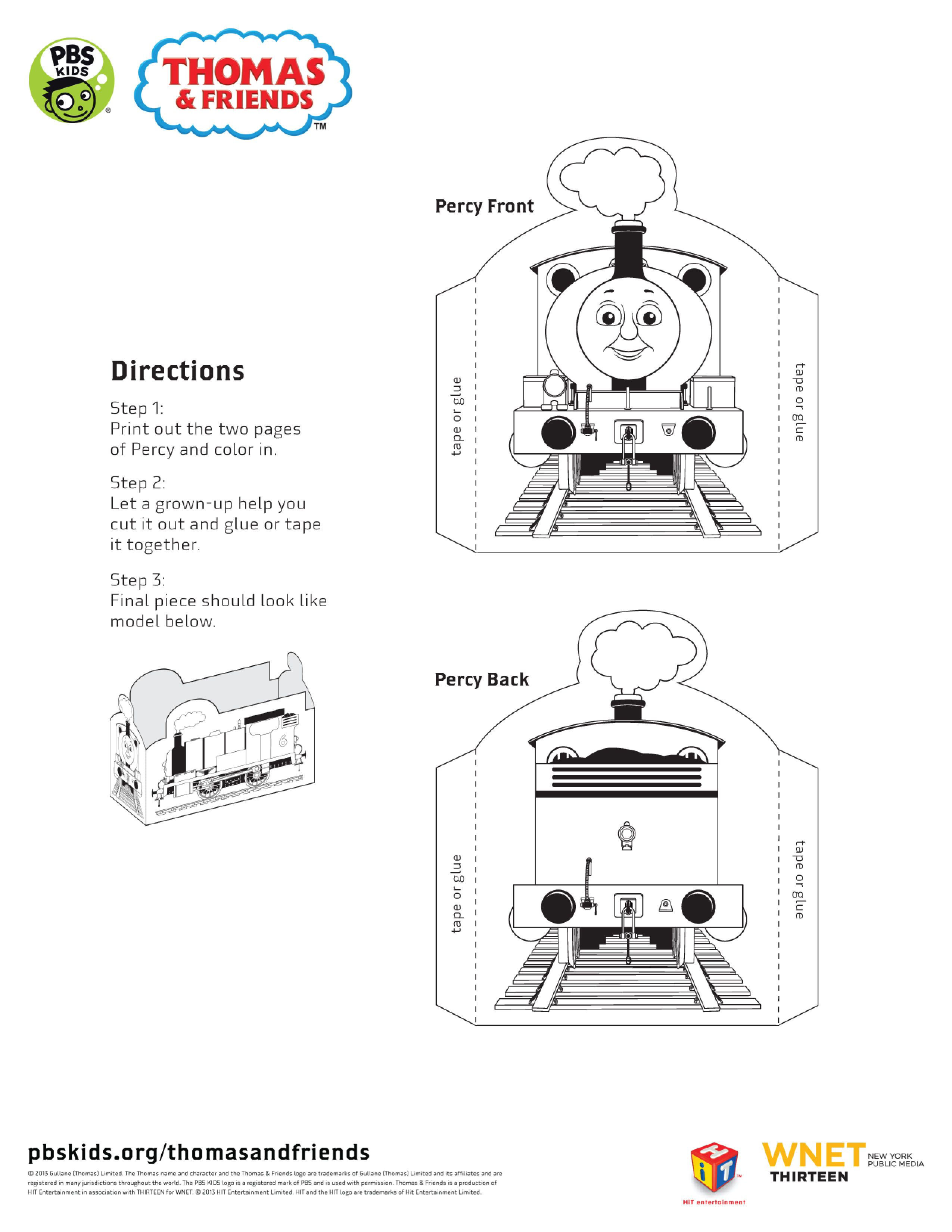 Front And Back Of A Percy Cut Out Standee Thomasandfriends Pbskids