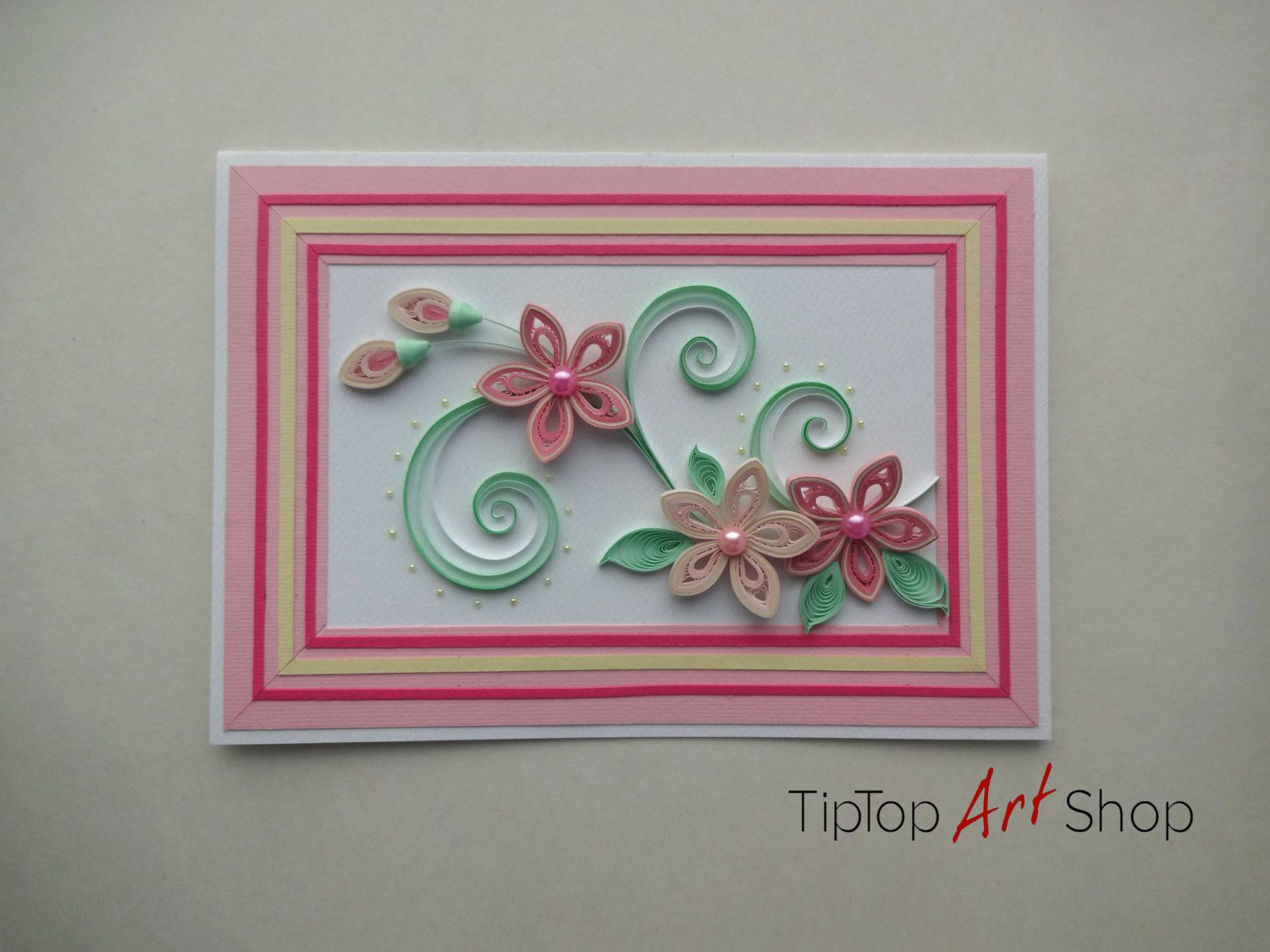 Quilled flower greeting card for girlfriend or wife quilling quilled greeting card with 3d handmade paper flowers in pink and yellow quilling card for kristyandbryce Images
