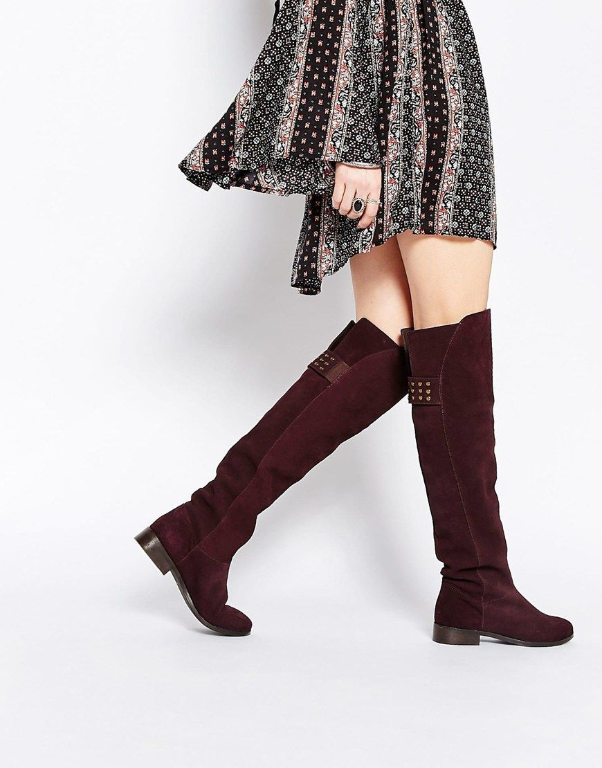 ASOS KIMBER Leather Stud Over The Knee Boots | Shoes | Pinterest ...