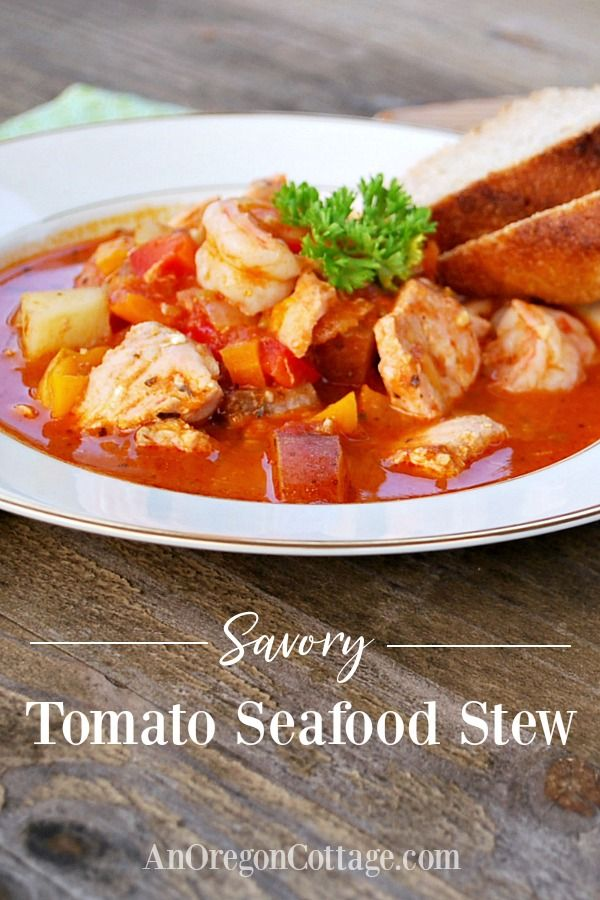 Savory Tomato Seafood Stew | An Oregon Cottage #seafoodstew