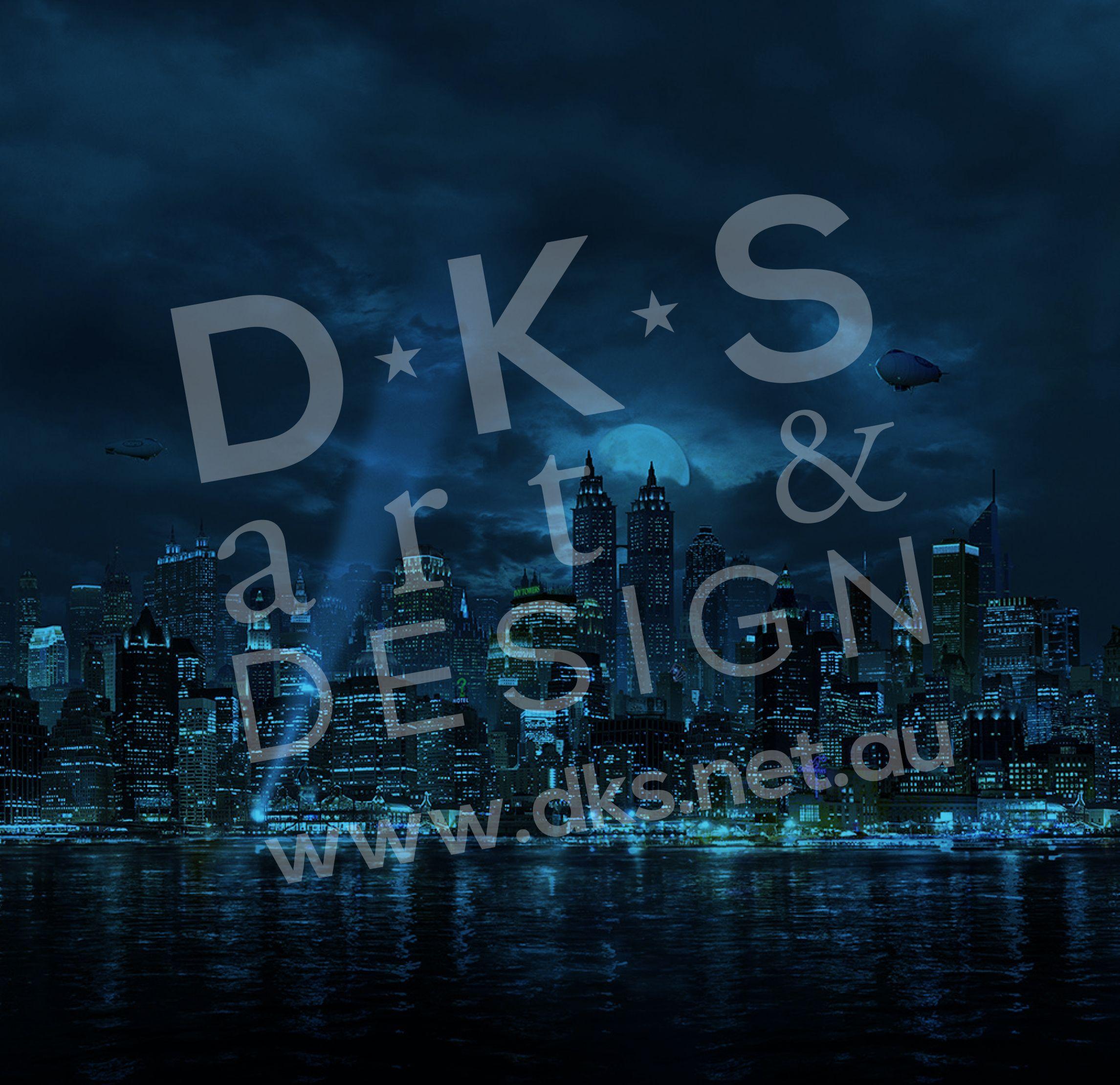 Batman Gotham City Background Design 3 For Detolf Display Cabinet. #Batman  #GothamCity #Detolf #DKSartDesign