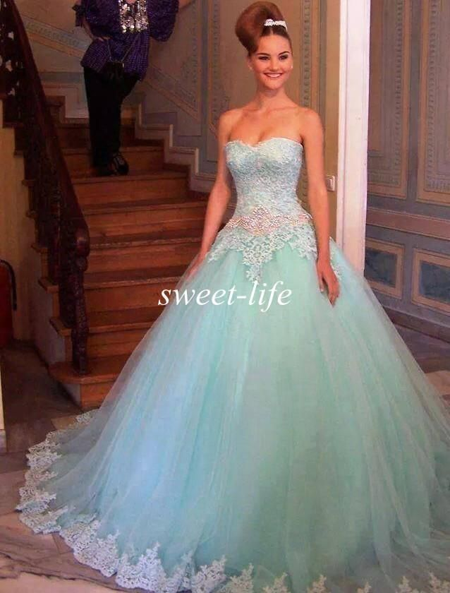 2015 Ball Gown Quinceanera Dresses Mint Green Tulle Strapless