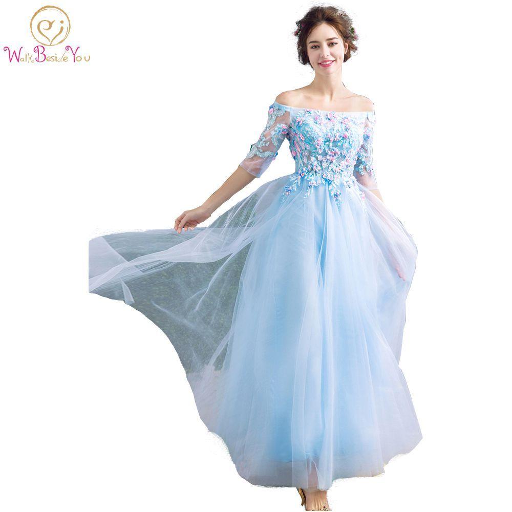 Lange Blau Transparent Prom Kleider mit Blumen Perle Weg Von der ...