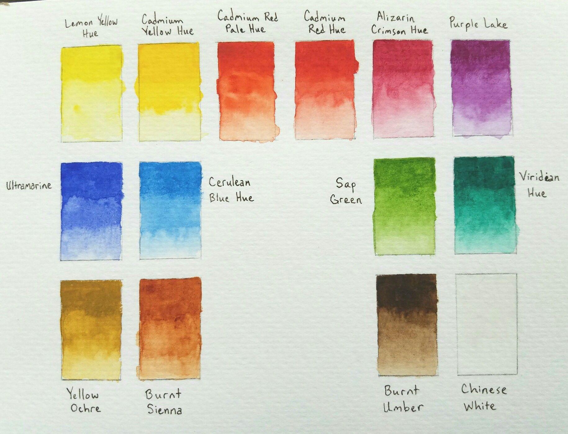 Color Value Chart Winsor Amp Newton Cotman 14 Half Pan