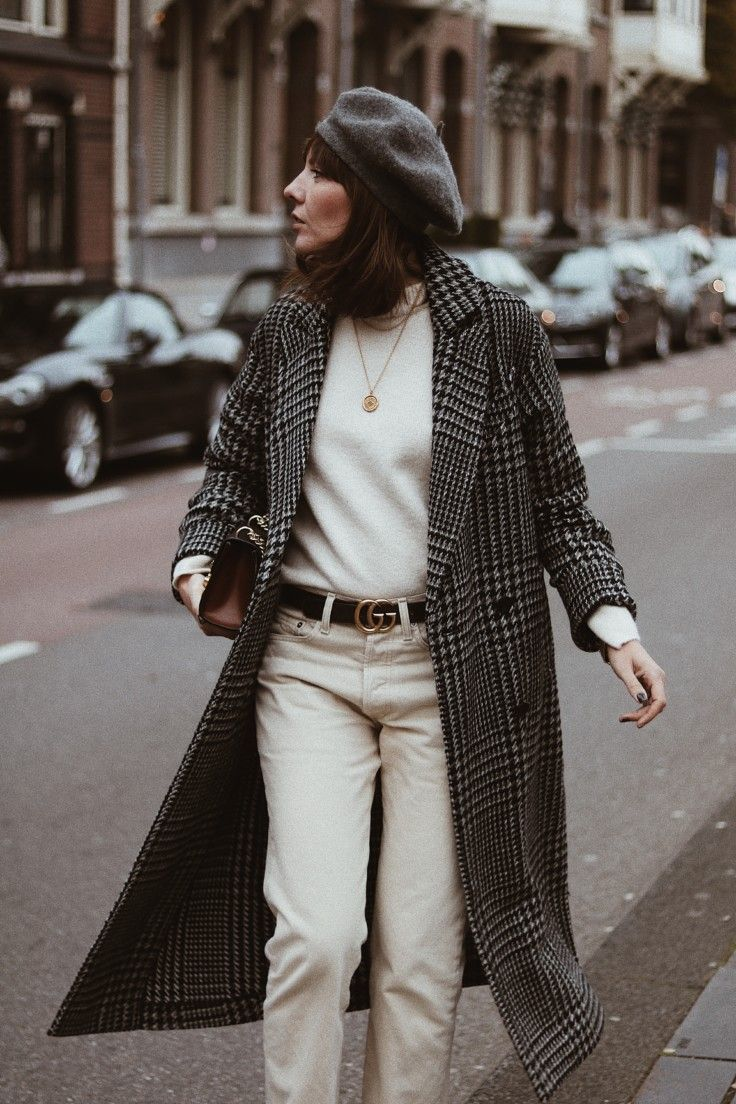 winter whites and check print coat //Maggie Richmond// #frenchgirlfashion