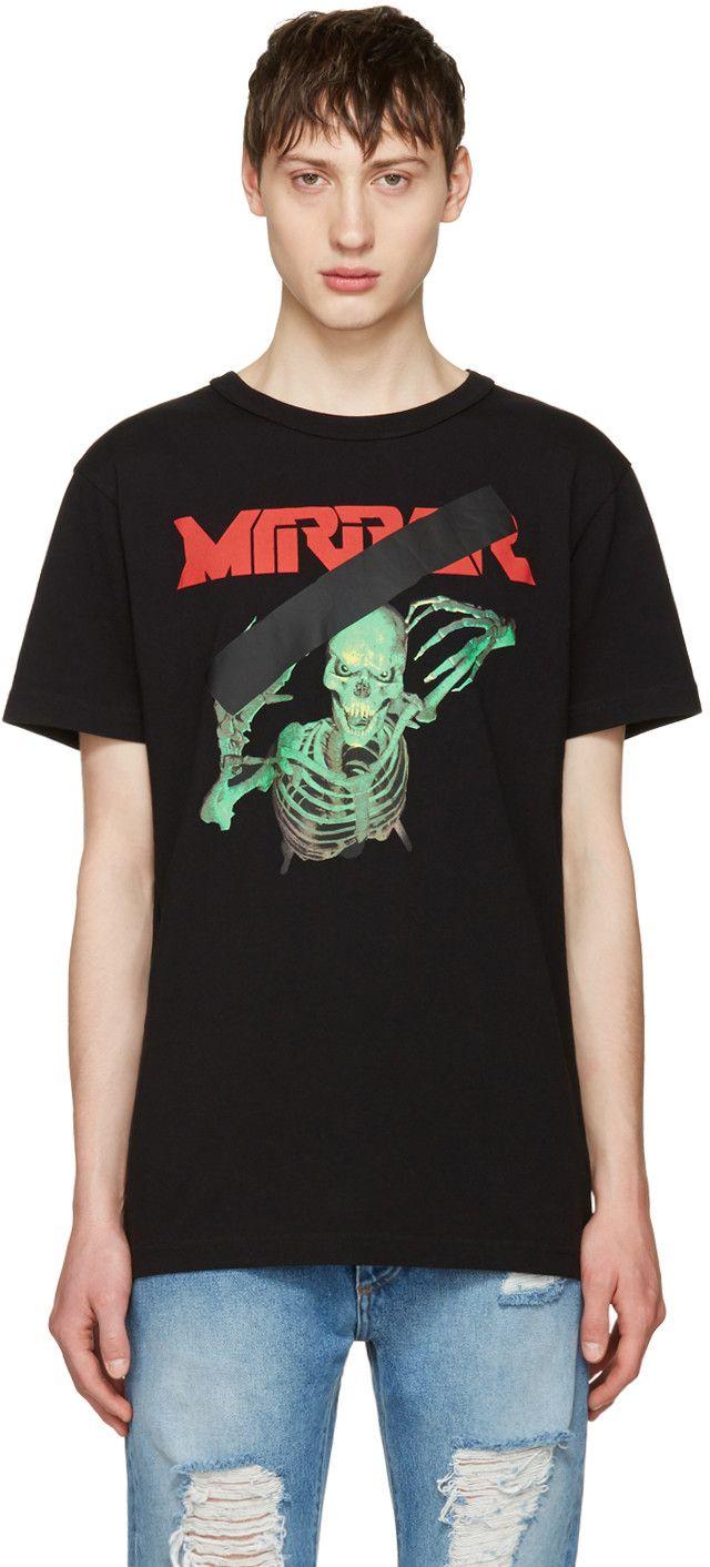 Danny zuko black t shirt - Off White Black Skull Mirror T Shirt