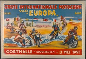 "Grote internationale motocross van ""Europa"" : Oostmalle - Bruulbergen - 3 mei 1951 (Sports & recreation posters Belgium) #Booktower"