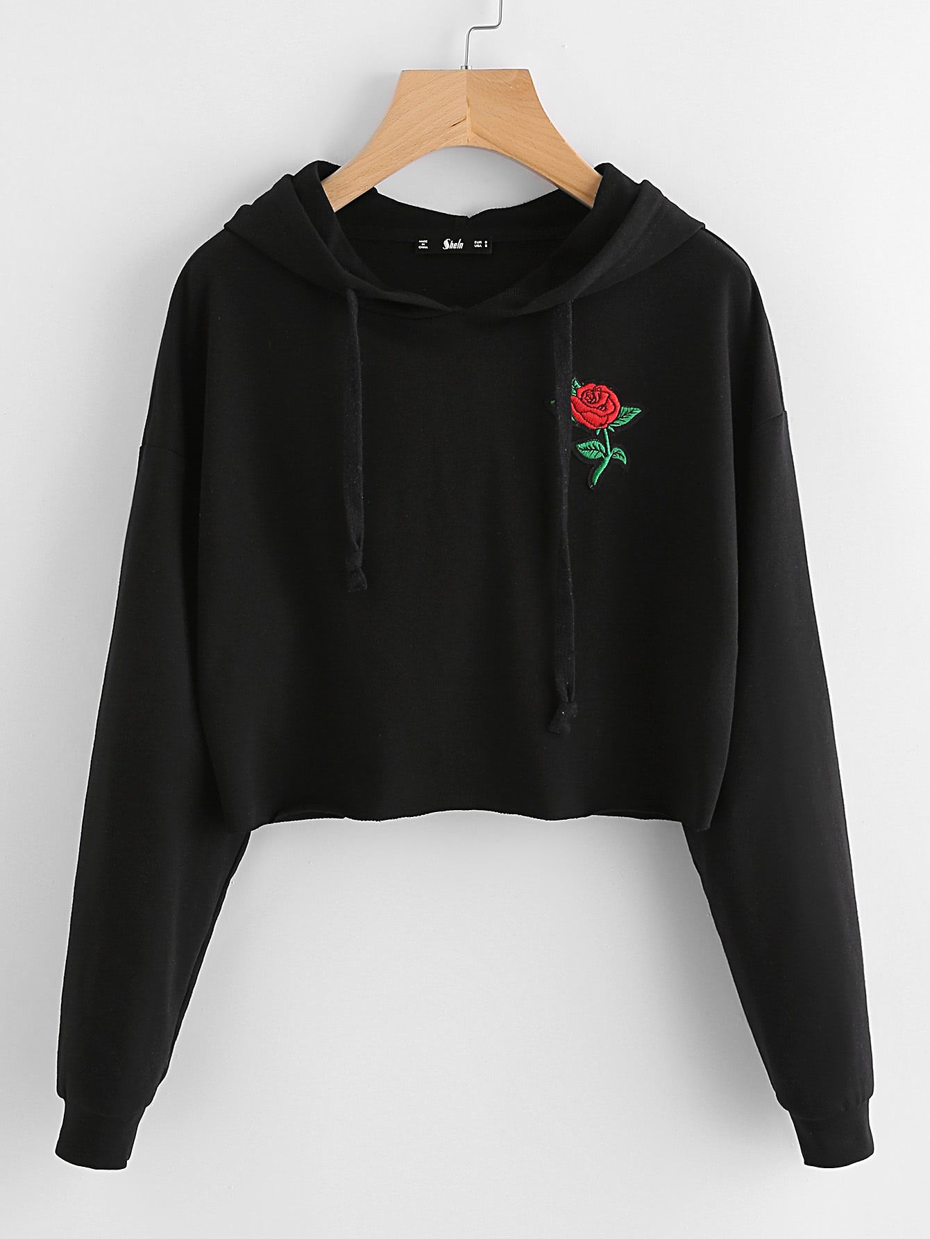 new cheap discount sale sneakers for cheap Sweat à capuche brodé des roses -French SheIn(Sheinside ...