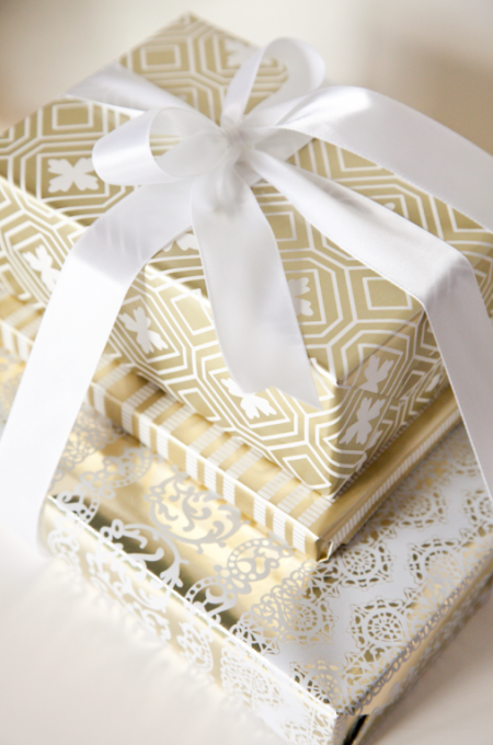 Stack 3 gifts wrapped in coordinating paper tie a bow around the stack 3 gifts wrapped in coordinating paper tie a bow around the whole thing tip put several pieces of double stick between the boxes so they dont negle Image collections