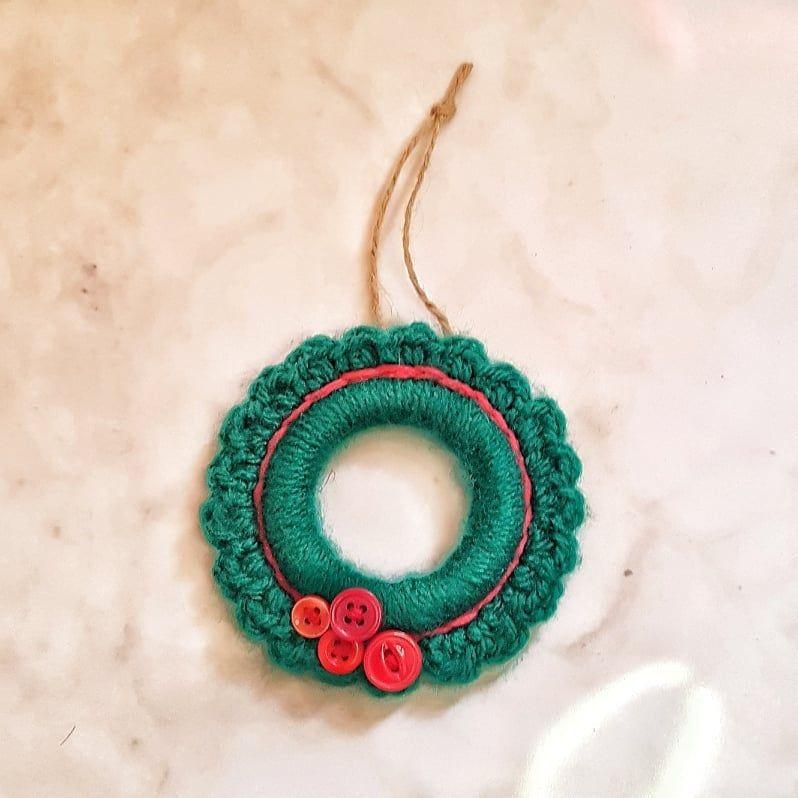 Photo of Handmade Green and Red Christmas Crochet Wreath Ornament Christmas Decorations Christmas Ornaments Mini Wreath