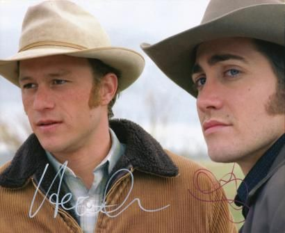 """Original signed photo of Heath Ledger and Jake Gyllenhaal from the acclaimed 2005 film """"Brokeback Mountain."""" Uncommon together and scarce in light of Ledger's early death. $850."""