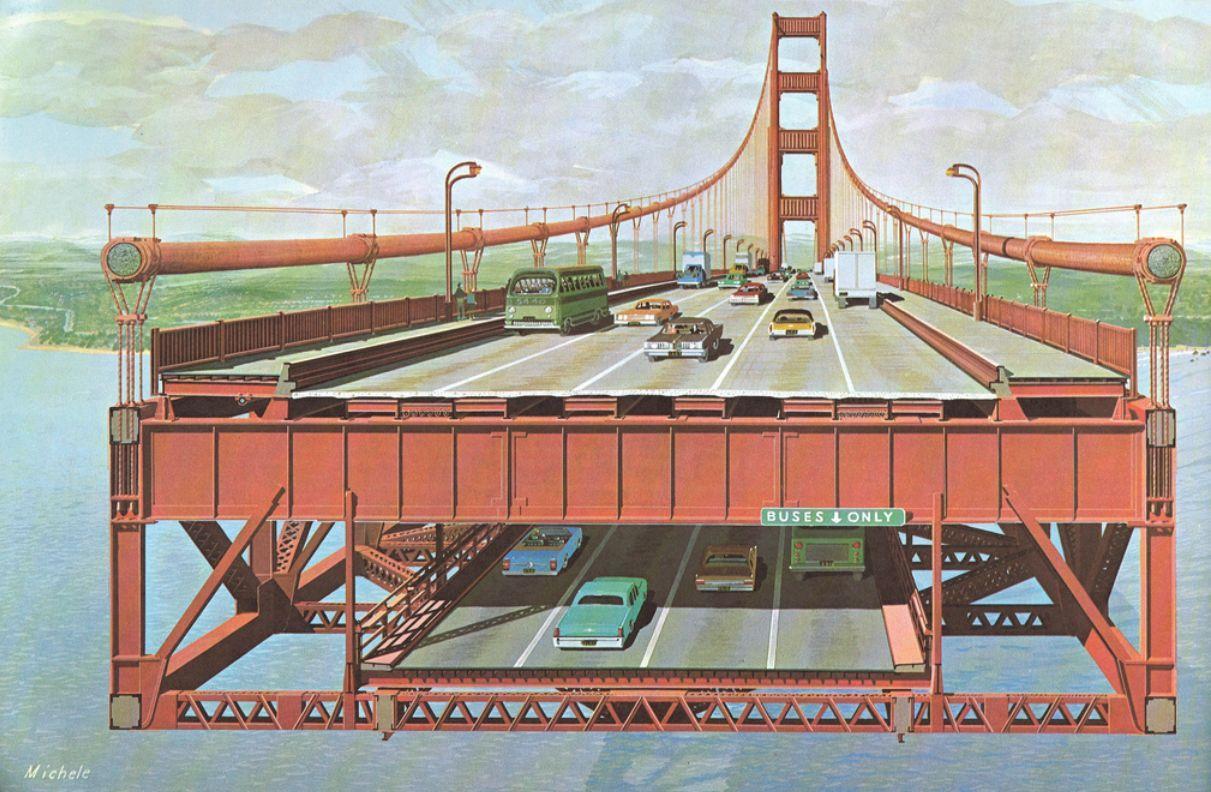 Its A Pretty Fanciful Look At A Double Decker Golden Gate Deck Images Golden Gate Bridge Bridge Design