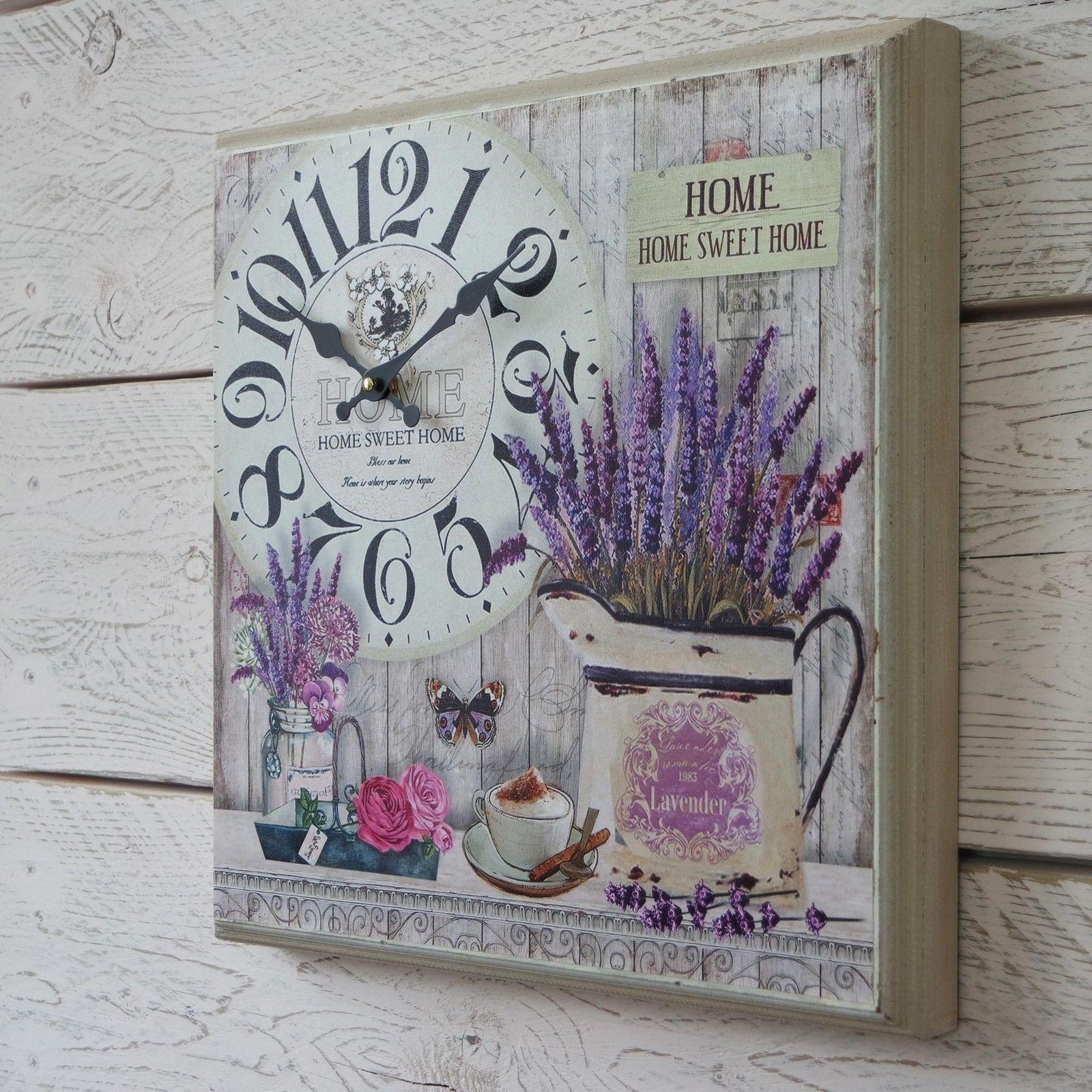 Home Sweet Home Vintage detalles de reloj de pared de madera en caja vintage cantueso lona