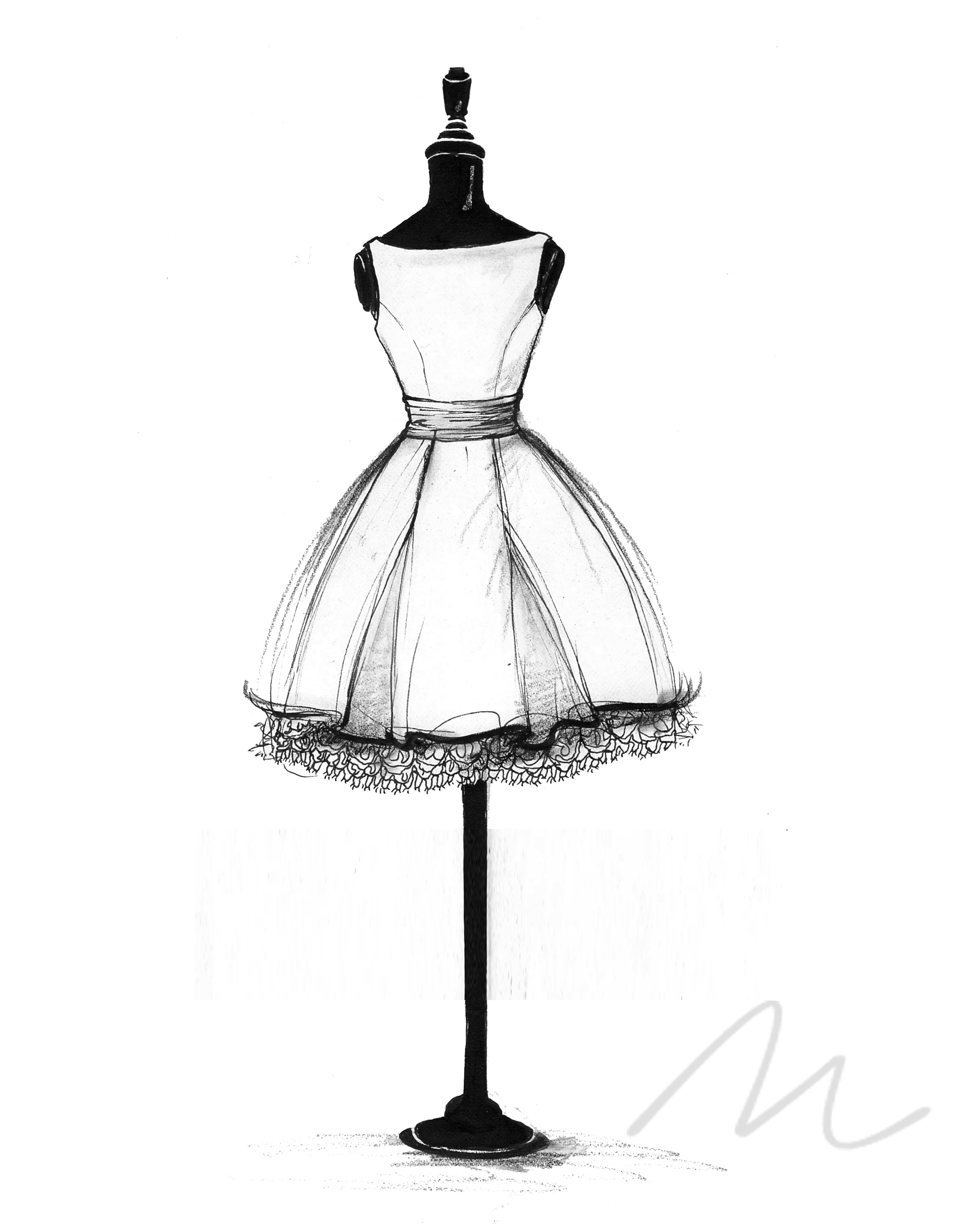 Dress black and white drawing pictures
