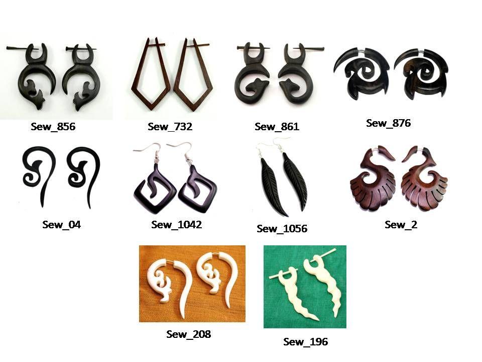 20 White Brown Black Wood Fashion Wooden Danglers Earrings Wholesale lot