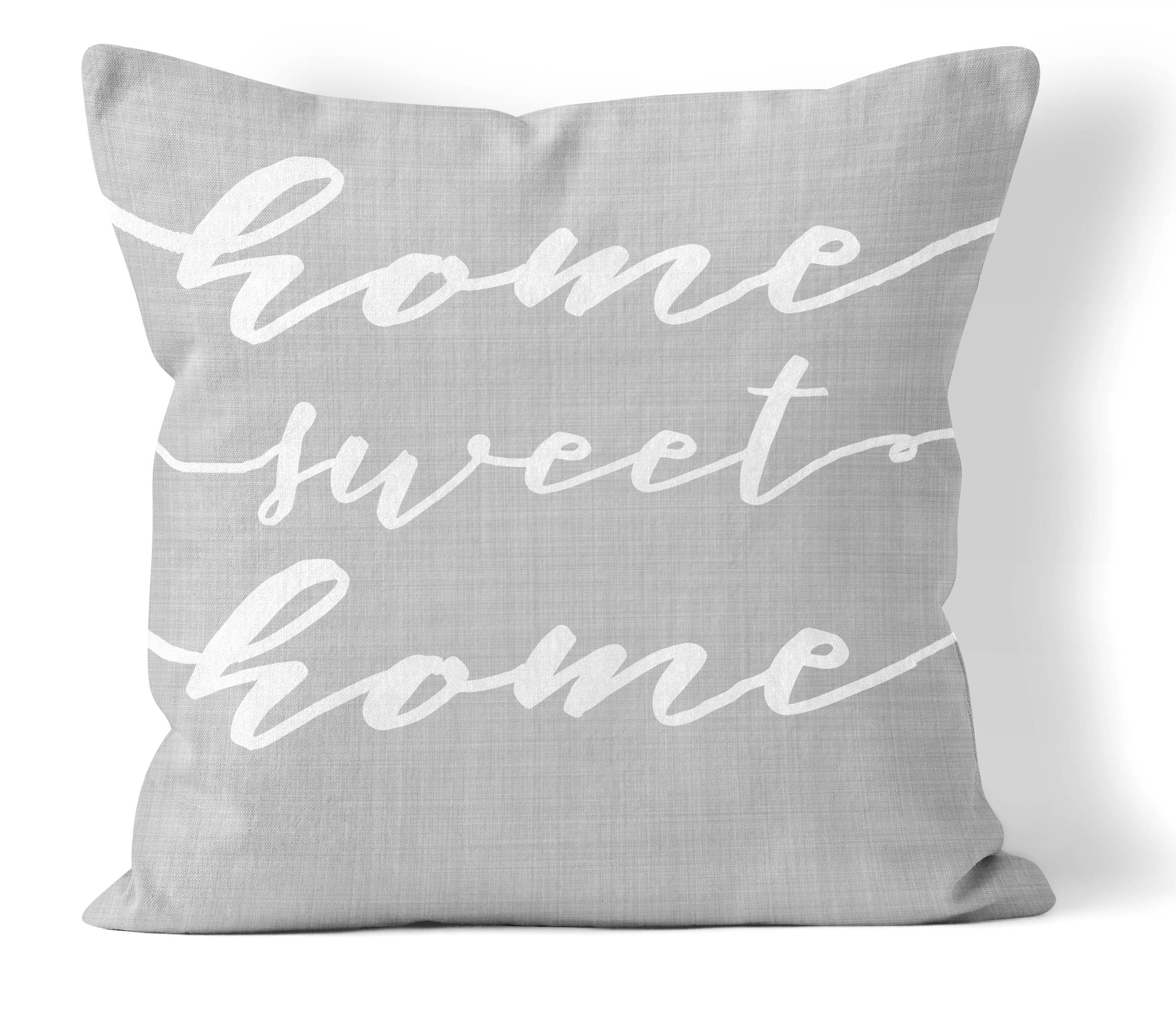 home sweet home pillow cover 18x18 in, gray and white