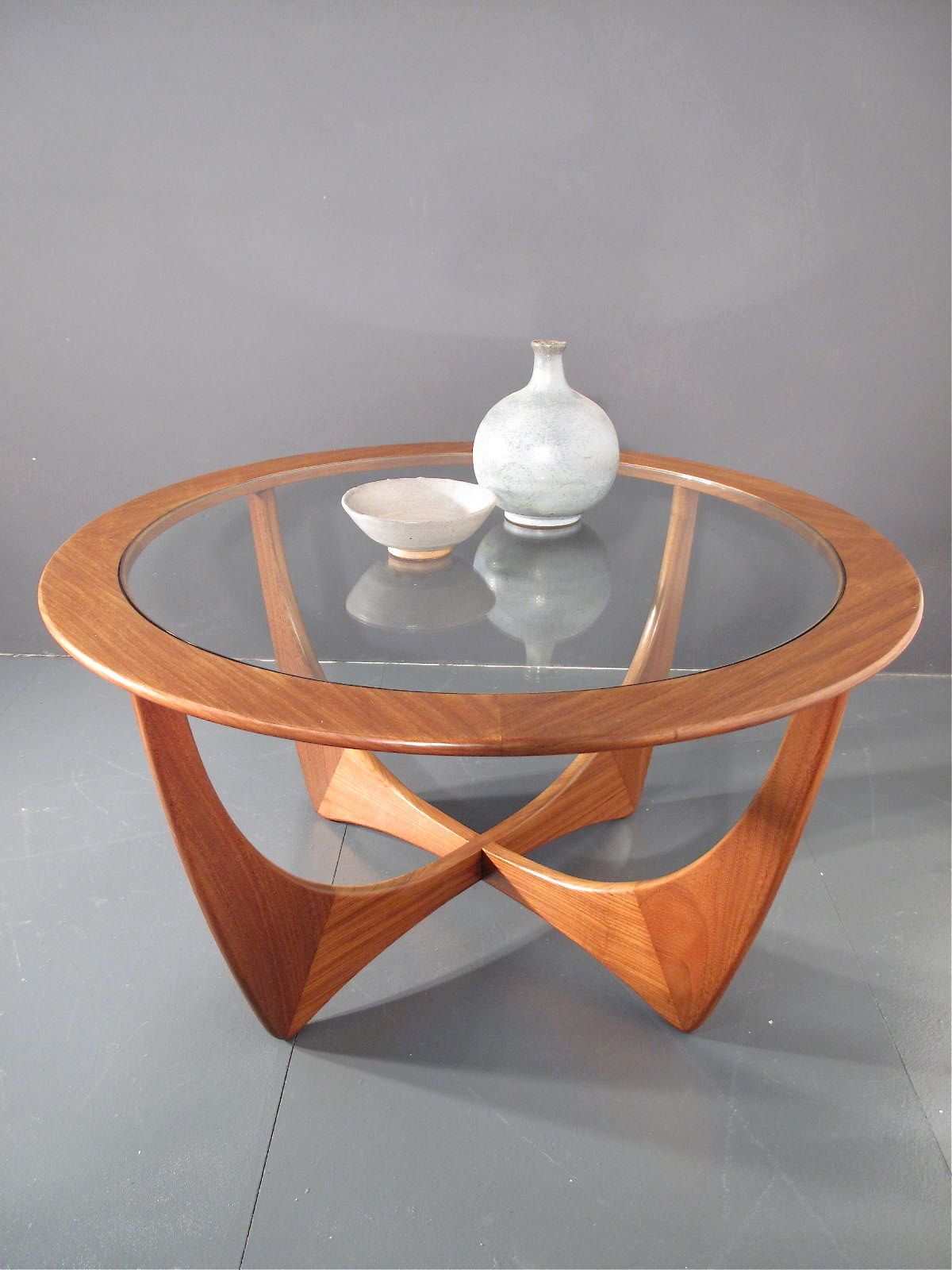 vintage G PLAN ASTRO TEAK & GLASS COFFEE TABLE DANISH Retro 60s