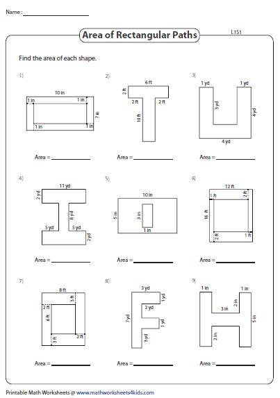 Area Of Rectangular Paths Area Worksheets Area And Perimeter Math Lesson Plans