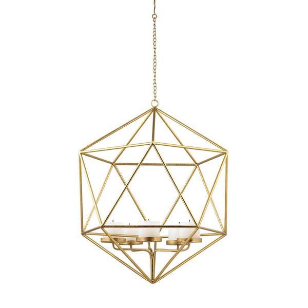 """Sterling Industries Angular Study Tea Light Pendant. This pendant-style candle holder holds five candles (maximum 3.25"""" diameter) and is perfect for gentle, added lighting when entertaining."""