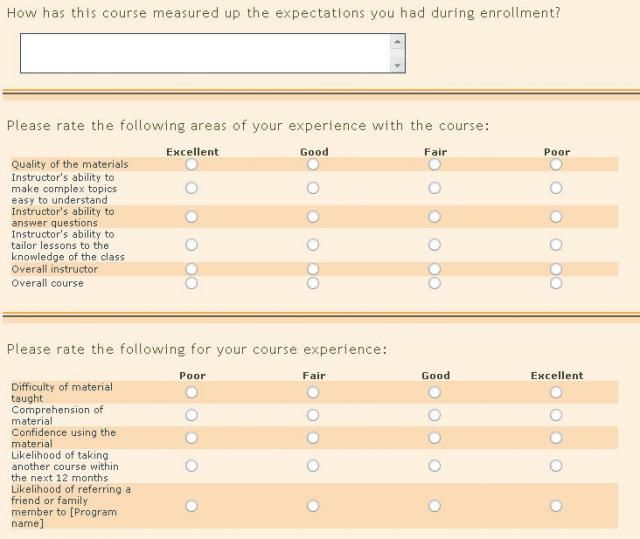 Sample Course Evaluation Questionnaires Images  Frompo  Survey