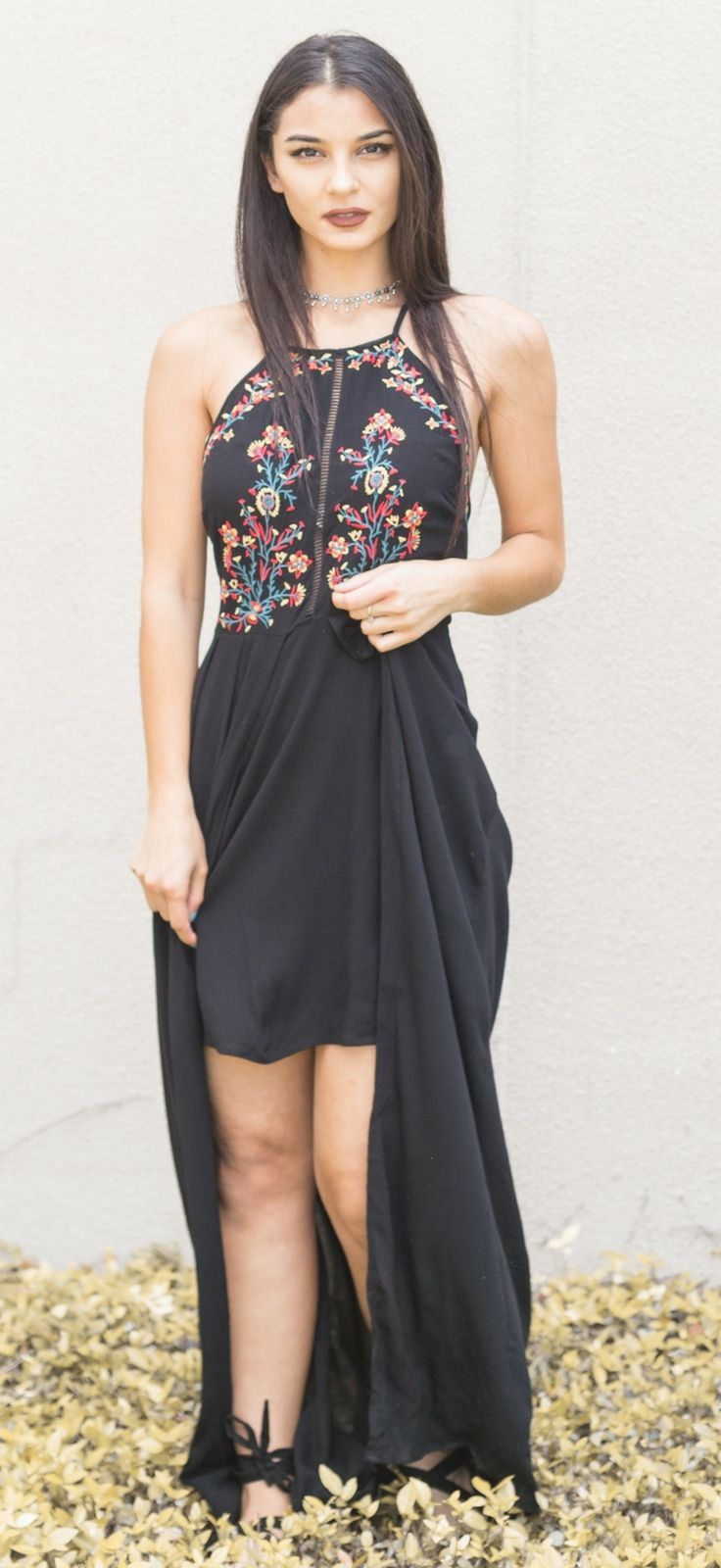 Black high low dress flowy cotton blue floral embroidery halter mini maxi summer // The ...