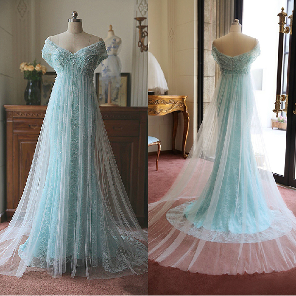 Suitable4u Womens Retro Elegant Word Shoulder Handmade Flowers Zipper Lace Yarn Blue Tail Wedding